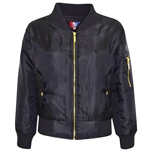 A2Z 4 Kids Enfants Filles Garçons Tout Dritto Bomber - MA1 Jacket Straight Black 9-10