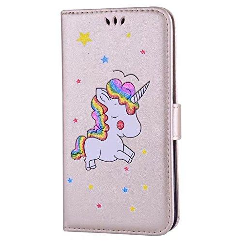 Cover iPhone 6/6s Plus DECHYI unicorno Custodia Matte Scintillante modello di Star Glitter Custodia.-Rosa rossa-02 doro