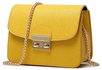 Women Handbag Solid Color PU Leather Clutch Purse with Chain Mini Shoulder Strap