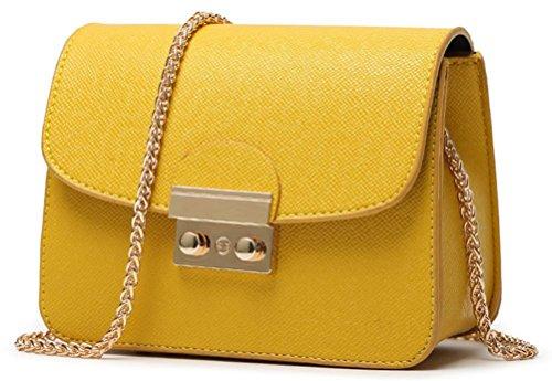 Honeymall Kleine Damentasche Umhängetasche Citytasche Schultertasche Handtasche Elegant Retro Vintage Tasche Kette Band(Orange) -