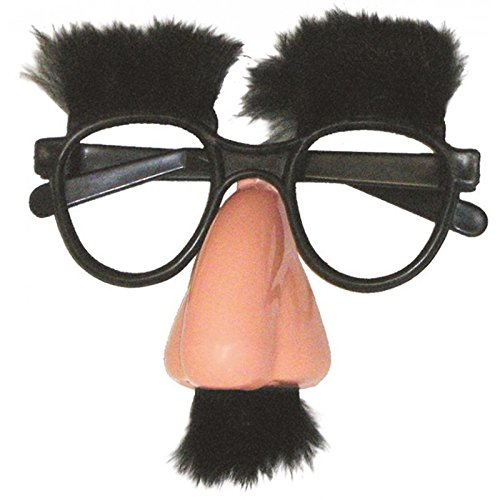 n Brille, Griesgram, Nase, Schnurrbart und Augenbrauen aus Plüsch, Schwarz, 40603 (Brille Mit Nase Und Schnurrbart)