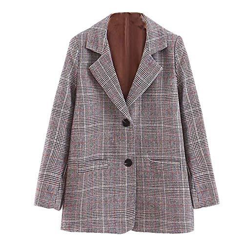 KCatsy Mujer Blazer Chaquetas Tartán Escocés Tweed Bolsillos Cuadros Guinga Botón Abrigo Casaca Traje...