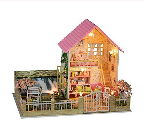 GUHUA Miniatur Puppenhaus Kit Provence Puppenhaus DIY Musik LED Licht Holzhaus Modell Spielzeug mit Möbeln Geburtstag - Provence 4 Licht