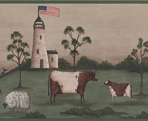York Wallcoverings Leuchtturm amerikanische Flagge Schafe Kuh grün Beige Tapete Grenze Retro-Design, Roll-15' x 9