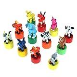 #9: Generic Wooden Animal Push Up Press Base Toy