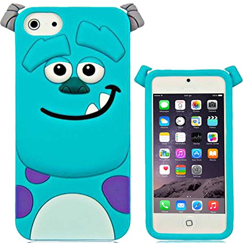 Schutzhülle, 3D-Cartoon-Design, weiches Silikon-Gummi, Silikon, Monster Inc - Sulley Blue, Apple iPhone 6s Plus, 6 Plus (5.5