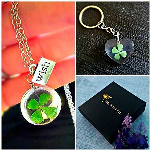 Conjunto de joyas de navidad Trébol de la suerte Collar y llavero Set