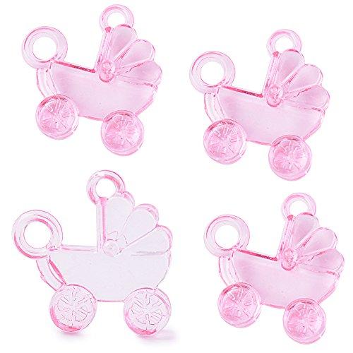 SERWOO 48(±1) Stück Taufe Streudeko Tischdeko Kinderwagen Form Transparent Rosa Taufe Mädchen deko Oder als Anhänger für Taufe Babyparty Babyshower