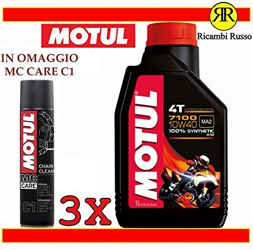 Motul 7100 10w40 olio motore moto 4 tempi litri 3 + OMAGGIO MC Care C1 Ch