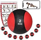 Medizinball Gewichtsball von POWRX 1 - 10 kg | Schwarz / Rot (2 kg)