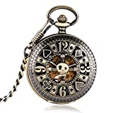 Reloj analógico de bolsillo automático para hombre, diseño de calavera, mecánico, de media luna, de YISUYA.