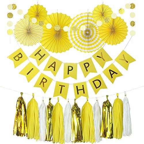 enpapier Fans, Happy Birthday Banner Party Dekorationen Kreis Dots, Papier Girlande Seidenpapier Quaste für ersten Geburtstag Baby Dusche Supplies Yellow Theme ()
