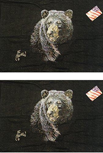 Manuelle schwarz Bär von Al Agnew gewebte Standard Kissen Sham, gssblb, 66x 50,8cm Set von 2 - Cottage Standard-quilt