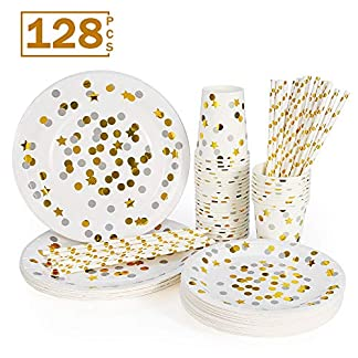esonmus Vajilla Desechable 128pcs Juego de Cubiertos de Papel para 32 Personas(32 Vasos de Papel + 32 Bandeja de Papel de 7 Pulgadas +32 Platos de Postre de 9 Pulgadas + 32 Pajita )
