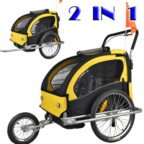 Remolque de bici para niños con kit de footing, color: amarillo / negro 502-04