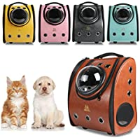 Mochila Cápsula para Mascotas, Mochila para Gatos, Perros, en forma de Burbuja, Bolsa del Animal con Grande Capacidad, Desmontable Impermeable Respirable para Gato, Perro, Mascota-Marrón