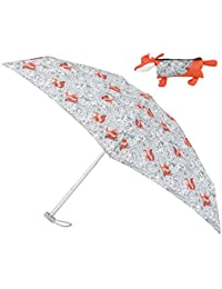 Compact Round 5 Section Umbrella With A Forest Animal Print And 3D Fox Case