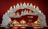 3D Schwibbogen verschneiter Weihnachtsmarkt mit Pyramide im Erzgebirge 72x41cm