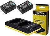 3in1-SET für die Sony Alpha 6000 --- 2 Akkus (950mAh) + Dual Ladegerät (laden Sie 2 Akkus via USB-Anschluss auf einmal)