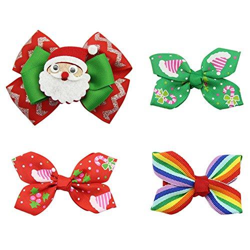 mischt Weihnachten Bogen Haarclips für Mädchen Baby Teens Festival Haar Zubehör Spangen (Cheerleading Haargummi)