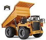 Top Race Camion à benne basculante fonctionnel à 6 canaux, tracteur de camion à benne basculante de construction télécommandé avec lumières et sons 2,4 GHz. TR-112G