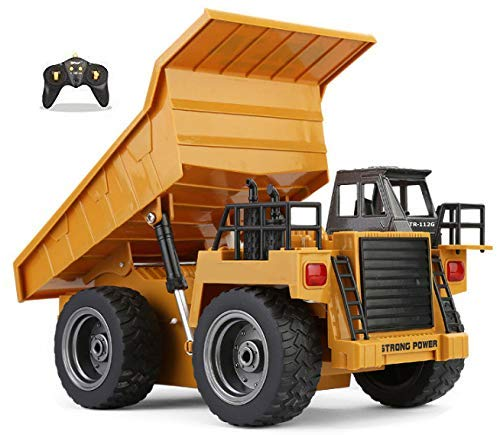 Top Race 6 Channel Full Functional Dump Truck, RC Remote Control Construction Dump Truck Tractor with Lights and Sounds 2.4GHz (TR-112G), Orangeyellow