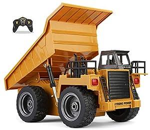 Top Race Camión volquete funcional completo de 6 canales, camión de control remoto RC Tractor de camión volquete con luces y sonidos de 2.4 GHz. TR-112G