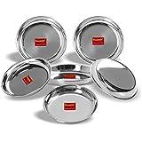 Sumeet Stainless Steel Heavy Gauge Medium Halwa Plates with Mirror Finish 17cm Dia - Set of 6pc