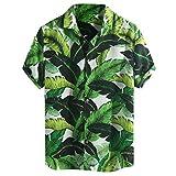 Xmiral Camicie Allentate a Manica Corta da Uomo in Hawaiian Beach Stampate con Colletto rovesciato (XXXL,10- Verde)