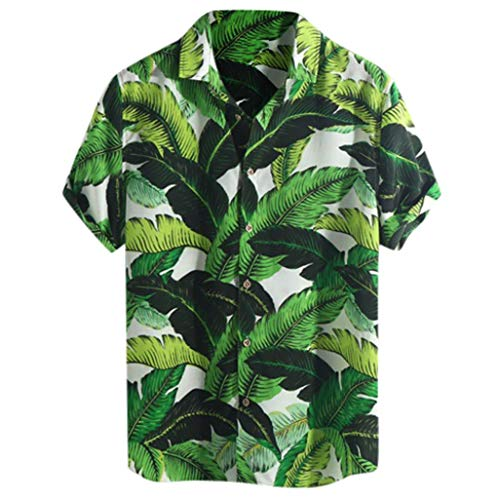 Xmiral Camicie Allentate a Manica Corta da Uomo in Hawaiian Beach Stampate con Colletto rovesciato (M,10- Verde)