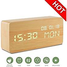 Despertadores Digitales,Relojes de Madera Comando de voz Tiempo Reloj Despertador LED de Viaje Cubo 3 Niveles Brillo 3 Alarmas Despertador digital Pantalla Hora Fecha Semana Temperatura para el dormitorio Oficina Inicio