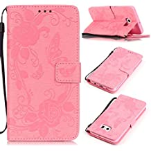 Funda para Samsung Galaxy S6 Edge Plus, Galaxy S6 Edge Plus Funda de PU cuero resistente,Samsung S6 Edge Plus Ultra Slim Mariposa y Flor Colorido Diseño PU Cuero Folding Stand Flip Funda Carcasa Caso, Leather Case Wallet Protector Card Holders, SMART LEGEND Cubierta de la caja Funda protectora de cuero caso del soporte billetera Funda Carcasa con Stand Función y Imán Incorporado para Samsung Galaxy S6 Edge Plus - Hot Pink