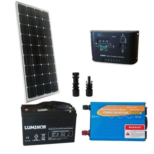 Photovoltaik Kit 150W 12V Base Mono Solar Wechselrichter 1000W Batterie 100Ah
