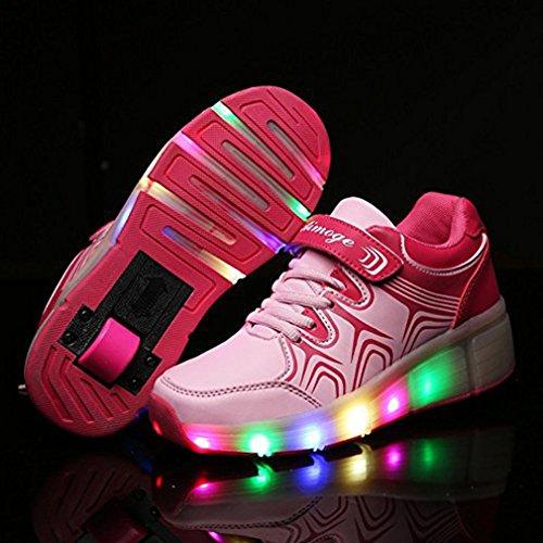 Blinkschuhe Mit Rollen Jungen Mädchen Outdoor Sportschuhe LED Leuchtend Turnschuhe Wheelies Rollschuhe für Damen Herren Pink