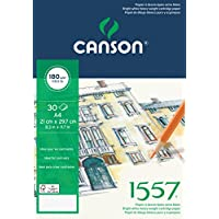 Canson 1557 - Bloc papel de dibujo, A4-21 x 29,7 cm, color blanco puro