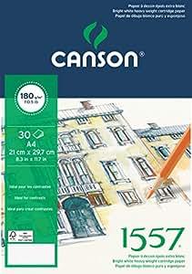 Canson 1557 204127414 Papier à dessin Grain Léger Blanc Pur