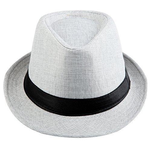 Shanxing Fedora Hut Herren Trilbyhut Panamahut Sonnenhut Hüte Jazz Kappe, 016-Grau, one size