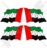 Waving Flag Vereinigte Arabische Emirate UAE Dubai, Abu Dhabi 5,1cm (50mm) Vinyl bumper-helmet Sticker, Aufkleber X4