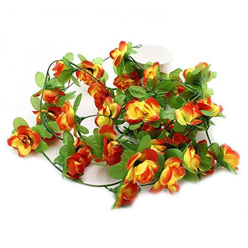Künstliche Fake Blumenranke 1Strang, natürlichem echten Touch, Simulation Blumen-Arrangement perfekt für Tischdekoration Hochzeit Blumensträuße Decor Orange