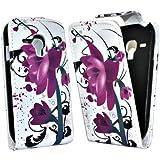 Accessory Master Housse en cuir pour Samsung Galaxy S3 mini i8190 Lotus Fleur Violet