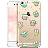 OOH!COLOR Bumper Compatible pour iPhone 6S Plus, Coque iPhone 6 Plus Silicone Drole Transparent Souple Etui Soft Case Ultra Slim Fine Cover avec Motif Hibou (JETABLE)