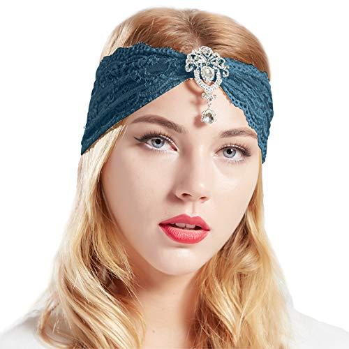 Coucoland Spitzen Haarband Damen Turban Hut mit Anhänger Kristall Brosche 1920s Stirnband Damen Exotisch Fasching Kostüm Accessoires (Dunkel Blau Grün) (Dunkel Kostüm)
