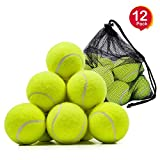 Tennis Balls, OMorc 12 Pack Sport Play Cricket Dog Toy Ball with Mesh Carrying Bag, Sturdy & Durable, Great For Lessons, Practice, Throwing Machines & Playing with Pets