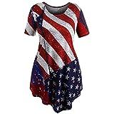 LeeY Damen Sommer Beiläufig Amerikanisch Flagge T Shirt Kurze Gedruckte Ärmel Bluse Shirt Tops Frauen Mode Drucken Oberteile Rundhals Splice Unterhemd Kurzarm Gestreiften Hemd (Rot, L)
