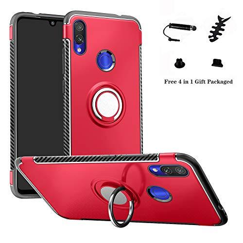 LFDZ Xiaomi Redmi Note 7 Anillo Soporte Funda, 360 Grados Giratorio Ring Grip con Gel TPU Case Carcasa Fundas para Xiaomi Redmi Note 7 / Redmi Note 7 Pro Smartphone,Rojo