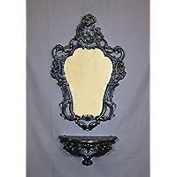 Idea Casa Estante + Espejo–Consola + Espejo Negro Black Estilo Barroco Louis XVI Artificial Vintage