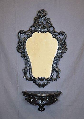 Idea Casa Regal + Spiegel–Spielekonsole + Spiegel Schwarz Black Barock Stil Louis XVI Fake...