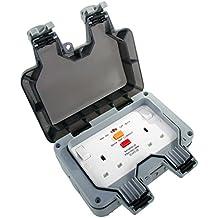 Masterplug IP66 2 Gang 13 A 30 mA DP RCD Latched Switched Socket - Grey