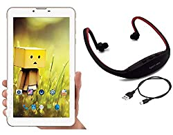 I KALL N4(1+8GB) Dual Sim 4G Calling Tablet with MP3/FM Player Neckband- White