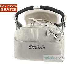 mibebestore - Bolso Polipiel Carrito Bebe Personalizado con nombre bordado GRIS - Nombre bebé bordado
